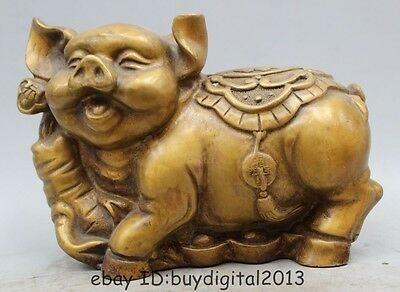 "6"" Chinese Fengshui Copper Zodiac Year Pig Yuanbao Coin Money Wealth Statue"