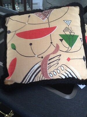 TWO! YES  PAIR Vintage BARKCLOTH Fabric Pillows Atomic Geometric design 1950's