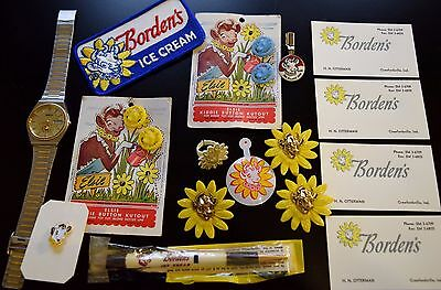 Borden's Elsie Cow Advertising Lot Ice Cream Patch Pins Pencil Watch Buttons Vtg