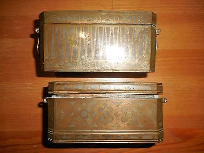 2 Antique 19Th Cen Betel Nut Box Boxes Gorgeous Detailed Brass With Inlays Nr
