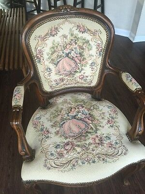 Vintage French Provincial Tapestry Side Chair Made in Italy by Chateau D'Ax Nice