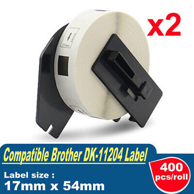 2 x Compatible Brother for DK-11204 MULTIPURPOSE Label 17mmx54mm QL-570 QL1050