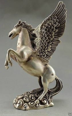 Collectible Decorated Old Handwork Tibet Silver Carved Big Horse Flying Statue