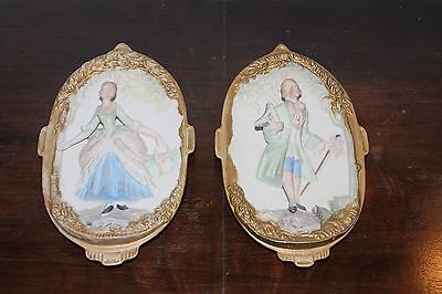 """Vtg Hand Painted Japnese Chase Porcelain """"Victorian Couple"""" Wall Plaques"""