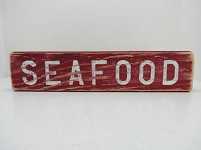15 Inch Wood Hand Painted Seafood Sign Nautical Maritime (#s646)