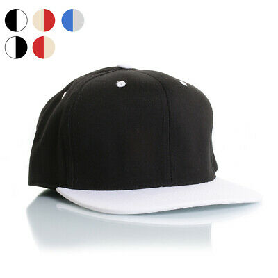 New Plain Snapback Baseball Hat Adjustable Quality Caps Flat Brim Peak Two Tone