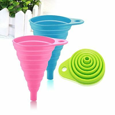 Silicone Rubber Collapsible Foldable Funnel Hopper Kitchen Tool Gadget Cute NEW