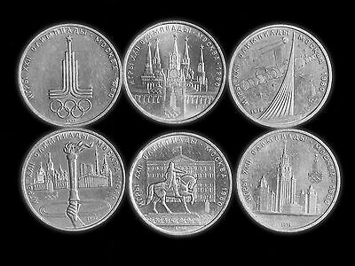 """Lot of 6 USSR XXII summer olympic games one rubel coin category """"Proof"""""""