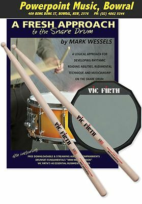 Vic Firth Fresh Approach Starter Pack - Prac Pad/Sticks/Book/CD & Poster RRP $99