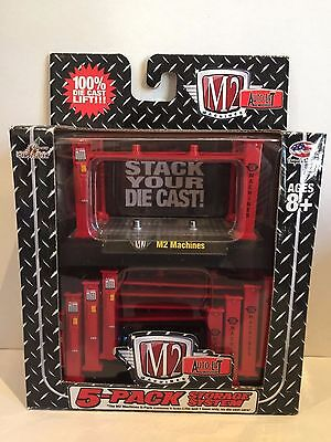 M2 Machines Auto-Lift 5-Pack Storage System Red 4 Post Die-Cast Castline #33500