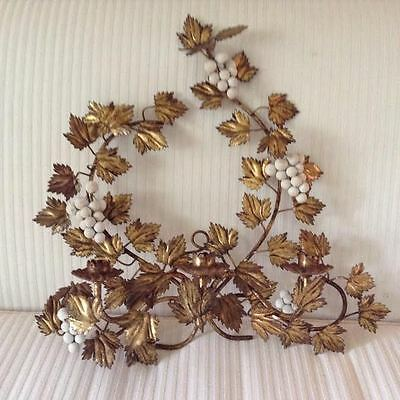 Vintage TOLE Gold gilt Candleholder Wall Sconce - 3 candle