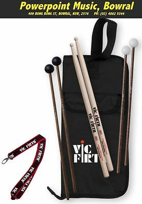 Vic Firth Education Pack - Inc Stick Bag, SD1 Sticks, M5 & M14 Mallets, RRP $149