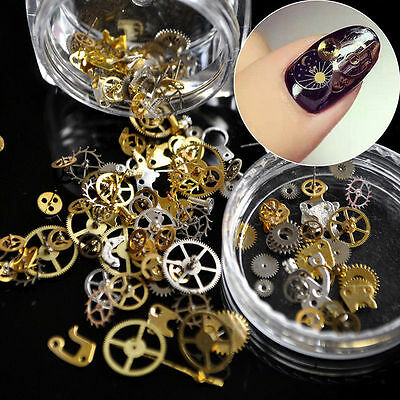 3D Nail Art Decal Punk Gold Gear Engineer Steam Sticker Manicure DIY Decoration