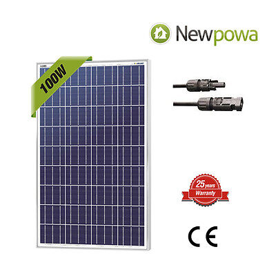 NewPowa 100 Watts 100W Solar Panel 12V Poly Off Grid Battery Charger for RV Boat