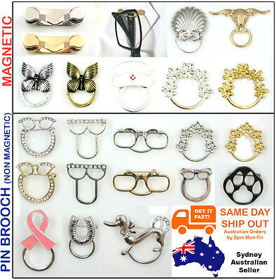 Eyeglass ID Pin Magnetic Brooch Spectacles Sunglasses Chain Holder Glasses Cord