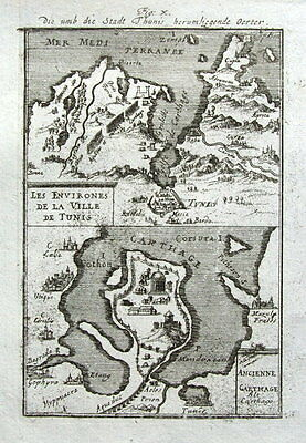 TUNIS, CARTHAGE, TUNISIA, AFRICA A.Mallet original antique map 1719