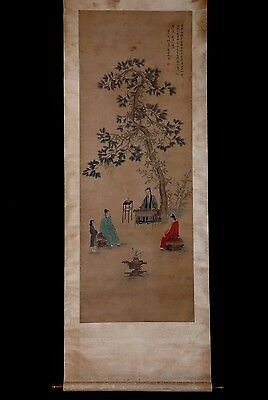 Quite Long Rare Old Chinese Scroll Hand Painting Figures By GaiQi Collection
