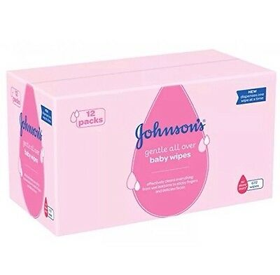 Johnson's Gentle All Over Baby Wipes, Total 672 Wipes - Pack Of 12