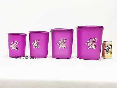 New Tupperware golden flora deco canister set (4)