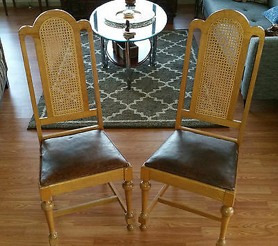 Pair 18th Century English Satinwood Queen Anne Side Chairs Original Leather Cane