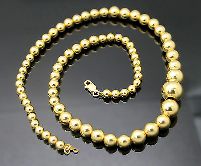 """Aurafin  Solid 18K Yellow Gold Highly Polished Graduated Beaded 18"""" Necklace"""