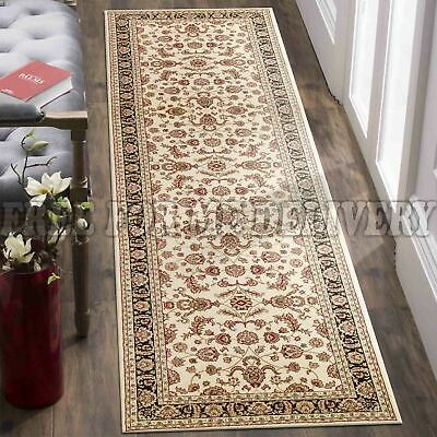 VALENTI ALLOVER CREAM BLACK TRADITIONAL RUG RUNNER 80x300cm **FREE DELIVERY**