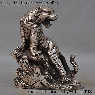 China Fengshui Silver ferocious Zodiac Year Tiger king up hill Statue Sculpture