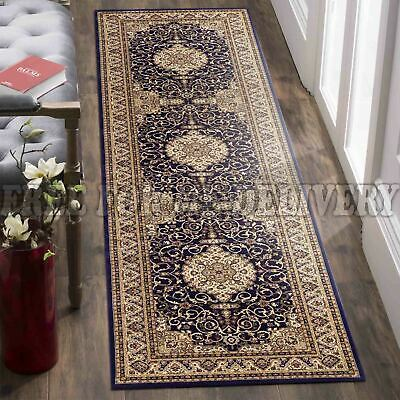 VALENTI MEDALLION NAVY BLUE TRADITIONAL RUG RUNNER 80x400cm **FREE DELIVERY**