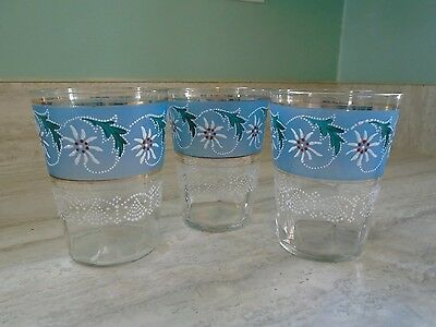 Antique Victorian Optic Glass Tumblers Daisies And Dot Detail Pretty Blue 3
