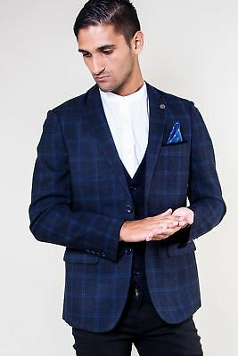 Mens Marc Darcy Designer Navy Check Tailored Blazer Formal Jacket