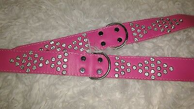 Doggy Things Fantasia Hand Made Leather Diamante Dog  Collar, 60 Cm, Hot Pink