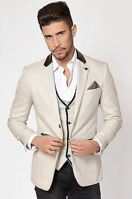 Mens Marc Darcy Designer Cream Blazer Tailored Slim Fit Tweed Jacket