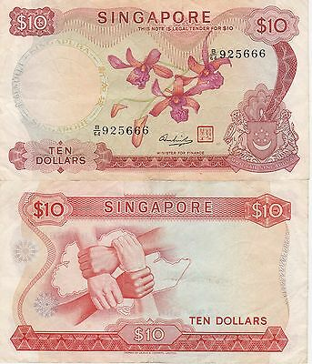 Singapore 10 Dollars Banknote,(1973) Very Fine Condition Cat#3-D-5666
