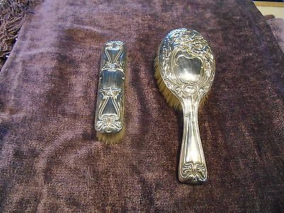 Matching Silver Hairbrush and Clothes Brush 1910 Birmingham