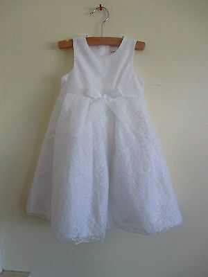 NEW! TEVOLIO BRIGHT WHITE FLORAL LACE FORMAL DRESS! GIRLS 2T! easter flower girl