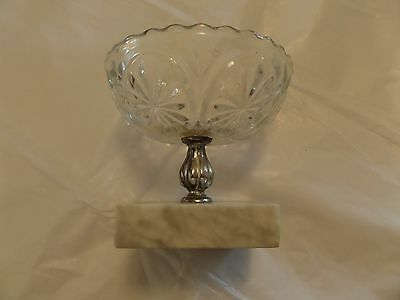 Marble based Cut Glass Candy dish with Silver Support