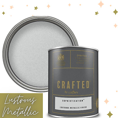 Crown Sophistication Silver Grey Metallic Emulsion Paint 1.25L Glamorious Walls