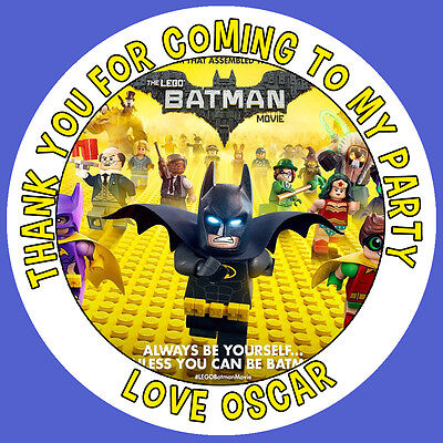 Personalised Batman Lego Movie Birthday Stickers Party Bag Thank You - 001