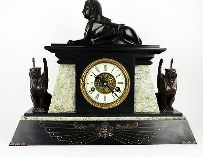Vtg. EGYPTIAN REVIVAL BRONZE SPHINX GRIFFIN MANTEL CLOCK with MARBLE BASE ~Huge~