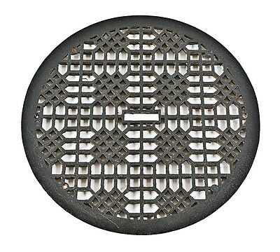 """1900'S CIRCULAR CAST IRON """"LATTICE"""" WALL AIR VENT GRILLE w BLACK ENAMELED FINISH"""