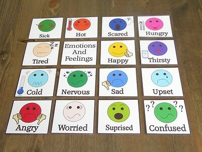 Feelings & Emotions Flash Cards - Non Verbal Communication Autism SEN ADHD