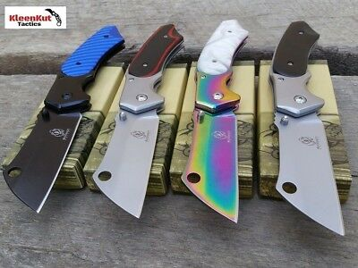 ASSORTED TACTICAL Spring Assisted Open Pocket Knife SET CLEAVER RAZOR FOLDING