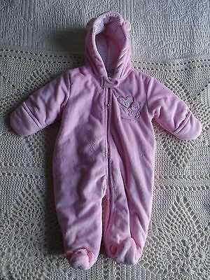 Infant Carter's Girls solid Pink plush SNOWSUIT 6-9 MONTHS Winter Outerwear