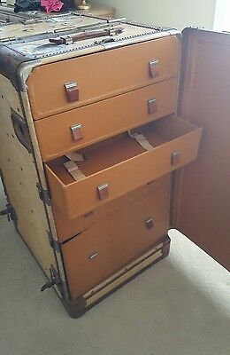 Shabby Vintage Antique Saks Fifth Avenue Steamer Wardrobe Flat Top Trunk Table