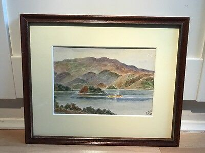 Beautiful Signed Vintage Watercolour Painting Of Lake Scene In Wood Frame