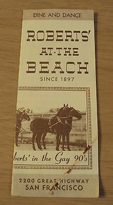 "RARE 1939 Ad Brochure~""ROBERTS' At-The BEACH""~San Francisco DINE and DANCE~"