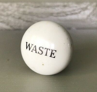 Vintage Antique White Porcelain Ceramic Bathroom Sink Tub Waste Knob White