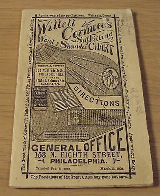 """RARE ca 1875 """"CORNWELL'S Self Fitting CHARTS""""~Directions BOOKLET~"""