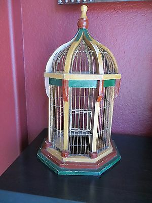 Shabby Antique Vintage Metal Wood  Bird Cage Old Hand Paint