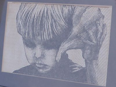 Vintage Framed Pen or Ink Drawing of a Little Boy listens to a Conch Shell